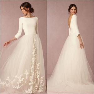 elegante vestido de noiva de tule Olivia Palermos A-Line apliques vestidos de noiva graciosa de inverno mangas compridas casar vestido de Wed