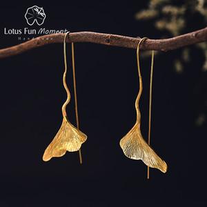 Lotus Moment Fun réel Argent 925 long Boucle d'oreille en bijoux à la mode Vintage d'or de feuille de Ginkgo Boucles d'oreilles pour les femmes