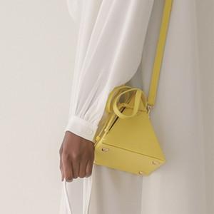 Геометрический треугольник конструкторов-Малый мешок для женщин Мода Drawstring Герметизация Chic сумки для дам Vintage Solid Crossbody сумка New