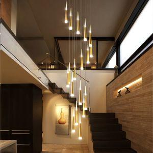 Modern LED Merdiven Avize Hanglamp Alüminyum Konik Uzun Merdiven Kolye Lamba Süspansiyon Armatür Merdiven Için Spiral Parlak