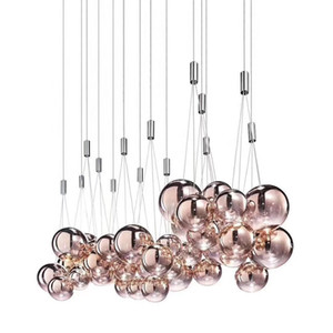 Modern Metal cinza Rose Bola de vidro ouro luz de teto luminária de teto Iluminação Sala de Fixação Chandelier PA0584
