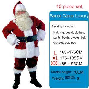 Nuevo 2019 vestido de traje Feliz Navidad 10pcs Santa Claus vestido de los hombres trajes de la Navidad del partido del vestido de la correa de Santa Claus