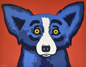 George Rodrigue Blue Dog Head Over Heels Home Decor Handpainted &HD Print Oil Painting On Canvas Wall Art Canvas Pictures 200116
