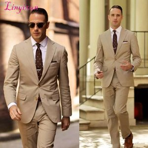 Linyixun Classy High Quality Wedding Tuxedos Light Brown Mens Wedding Suits Two Pieces Groom Wear Cheap Formal Suit