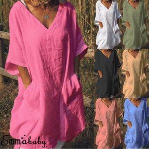 Estados Unidos 2020 de algodón de las mujeres del cortocircuito del verano de manga larga camiseta casual de las señoras vestido del tamaño extra grande