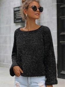 디자이너 스웨터 캐주얼 느슨한 패널로 작은 슬릿 돌아 가기 여자의 스웨터 패션 여성 의류 실버 반짝이 여자