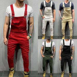 Fashion Men Overalls Suspender Trousers Slim Fit Bib Pants Skinny Jeans Causal