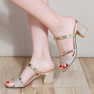 2020 Summer Women Shoes Sexy Ladies High Heels Woman Square Heels Sandals Summer Ladies Shoes Women Sandals Thick Heel 6cm A770 Y200702