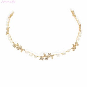 Joyería Jonnafe Boho hoja de oro pelo perlas que casan diadema nupcial Viña del pelo accesorios hechos a mano de las mujeres