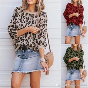 Diseñador de moda Leopard Impreso suéteres Pullover tapas flojas de lujo para mujer del suéter