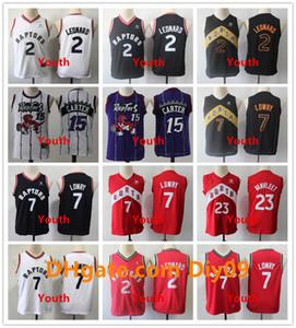 Дети 23 Фред Ванвлеет ТоронтоХищникиRembe Jersey Kyle Lowry 7 Kawhi Leonard 2 Vince Carter 15 Youth Vintage Basketball майки