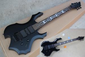 Custom Factory Prix spécial forme inhabituelle Guitare électrique noir mat du corps, Touche palissandre, Double Rock, Offre personnalisée