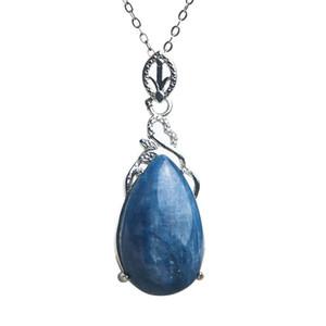 Genuine Natural Blue Kyanite Gemstone cristal da gota da água Bead Pendant Colar Mulheres Homens Por 23x15x9mm