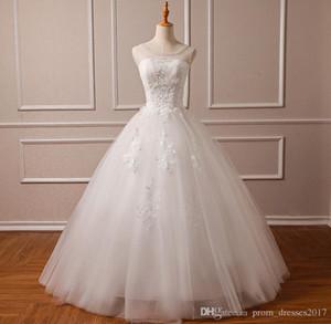 2020 Photo originale dentelle taille des robes Cheap Sale Sheer cou lacent Tulle long Vestido de Noiva Chine Robes de mariée