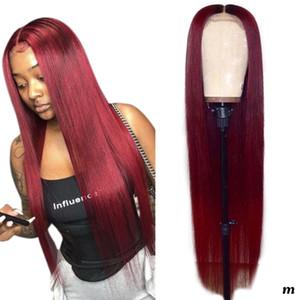 Yeni Burgonya Kırmızı Dantel Ön İnsan Saç Peruk Renkli Peruk İnsan Saçın 99j Burgonya Dantel Açık Düz Peruk ile Bangs İçin Kadınlar