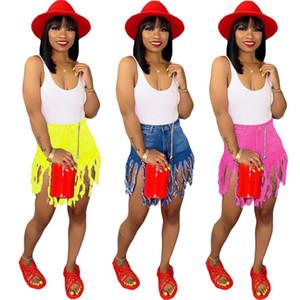 Die neue Art Frauen Jeans Art und Weise Tassel Taschen-Knopf Shorts bodycon Gamaschen Reißverschluss Denim feste Midweight Sommerkleidung plus Größe 327