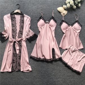 Women Pajamas Sets Ladies Satin Sleepwear Silk 4 Pieces Nightwear Pyjama Spaghetti Strap Lace Lounge Sets Pijama With Chest Pad T200612