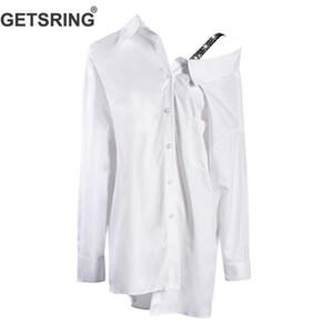 GETSRING Блузки женские Нерегулярные белые рубашки на одно плечо Водобур Женские рубашки с длинными рукавами Свободные длинные топы Весна Новый