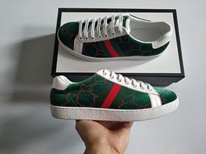Nuovi uomini donne scarpe di design low top morbido spugna verde rosso strisce suola in gomma scarpe da ginnastica in pelle asso scarpe casual designer 35-46