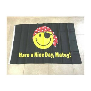 Pirate Happy Face Flag Have a Nice Day Matey Flag 3x5ft Polyester Printed Fish 1.5x0.9m for Home Boat Use, free shipping