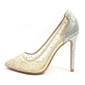 Leather 2020 new mesh lace Rhinestone nude high-heeled shoes thin heel shallow pointed single shoes Bridesmaid Wedding Shoes