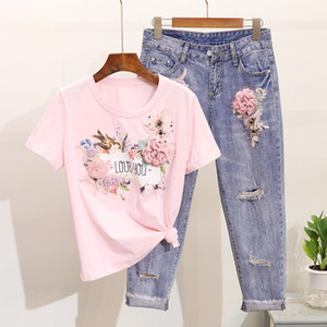 Women 2Pcs 2019 Spring Summer Embroidery 3D Flower Short Sleeve Tshirt+Heavy Work Jeans Pants Beading Tops Hole Denim Pants Suit