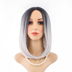 Perruque teinte cosplay dégradé cheveux courts tête de bobo dame courte distribution moyenne