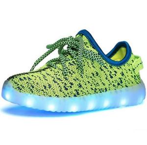 Летние дети Eur25-37 USB зарядка дышащая корзина светодиодные туфли дети с подсветкой светящиеся туфли для девочек кроссовки Бесплатная доставка