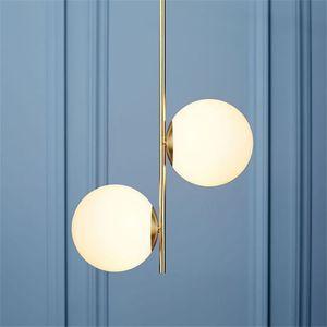Nordic glass ball led chandelier pós-moderno minimalista sala de jantar personalidade criativa bar Magic bean pendant lâmpada RW149