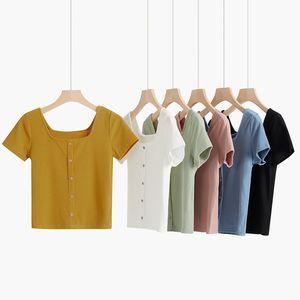Heliar Kadınlar 2020 Yaz Düğmeli Tişört Casual Örme Seksi Skinny Tişörtlü Kısa Kollu Düğme Tee Gömlek Kadın Katı Tops