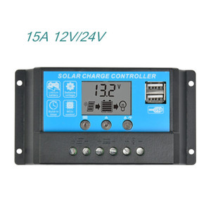 12V24V15A LCD Solar Charge Controller Regulator Switching Controllers For Solar panels Lithium lead acid With Universal USB 5V Charging