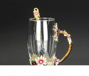 Creative Heat Resistant Crystal Glass Mug Enamel Glass Mug Flower Tea Set Coffee Cup Water Milk Coffee Drinkware for Gift