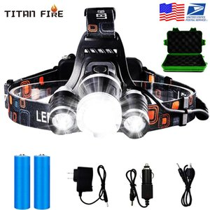12000 Lumens Headlamp Flashlight Rechargeable 3 T6 R5 LED Hard Hat Headlight Battery Car Wall Charger for Camping