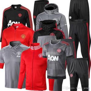 2018 2019 Hombre United POGBA chaqueta de fútbol para adultos Utd chándal 18 19 LUKAKU de foot LINDELOF chaqueta de hombre traje de entrenamiento