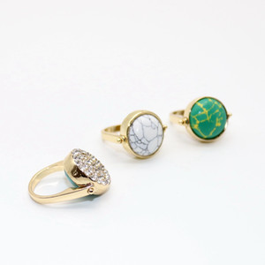 Creative Double Sided Rotatable Rings Fashion Woman Crystal Natural Round Turquoise Stone Rings Lady Gold Plated Jewelry TTA1181-14