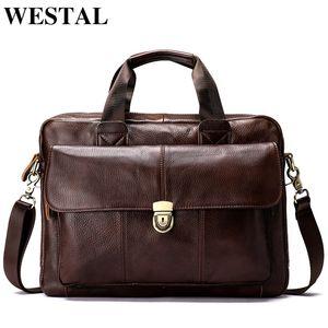 Westal Messenger Bag Men bandolera de los hombres de cuero genuino de los hombres de moda maletín bolsos Crossbody bolsa para hombres 315 Y19061803