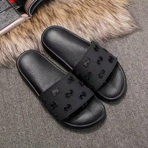 gucci shoes 2020 novas sandálias Designer Cat Tiger abelha impressão Macio homens borracha couro sandálias chinelo tamanho 35-45