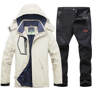 Зимний лыжный костюм для мужчин ветрозащитный водонепроницаемый Warmth Лыжная куртка и штаны снега Одежда Зима Горные лыжи и сноуборд куртки мужчин