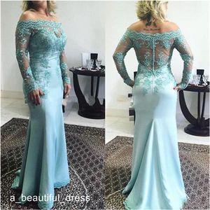 Elegant Off the Shoulder Lace Mother Of The Bride Dresses Sheer Long Sleeves Custom Made Sheath Mermaid Dresses Formal Evening Dress ED1188