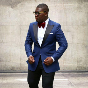 Новое поступление ВМС синих мужчин свадьба смокинги черный пик отворота одна кнопка Groom Tuxedos Groomsmen Suit (куртка + брюки + галстук)