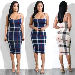 Nuevo de las mujeres de moda de lujo Mantas Vestido ajustado de tela escocesa femenina de costura de ropa de diseño de los vestidos del tirante de espagueti Vestidoes