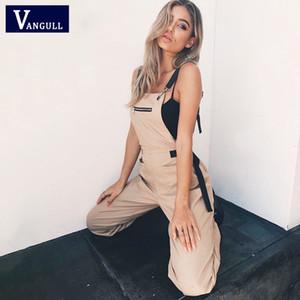 Vangull nuovo Khaki pagliaccetti delle donne tuta elegante lungo Zipper Pockets maniche Adjusted cinghia a vita alta Estate Cotone Moda