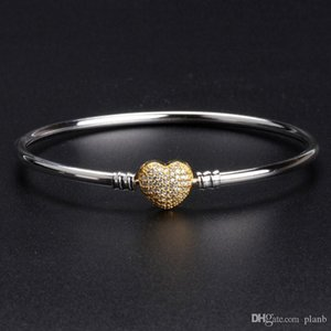 18K gold Heart Clasp Bangle Bracelet sets Original Box for Pandora 925 Sterling Silver Charm Bracelets Women Luxury Jewelry