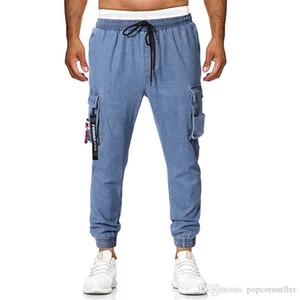Mens pantalones vaqueros de diseño con paneles Europea y Americana para hombre flojo del lazo del bolsillo decoración diseño casual jeans de moda casual hombres ropa