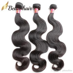 Bella Hair® 8-30 peruana mechones de cabello de pelo natural sin procesar de la armadura de la onda del cuerpo humano Negro trama del pelo 3pc / lot FreeShipping Julienchina