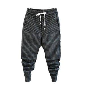 Moda Hombres Idopy tendencia de alta calidad Harem Jeans con cordón cómodo rayado Harem pantalones de lana pantalones chándal Hombre T200410