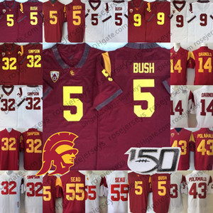 2020 USC Trojans Vintage-Jersey # 5 Reggie Bush 32 OJ Simpson 14 Sam Darnold 9 Kedon Slovis 43 Troy Polamalu 55 Junior Seau