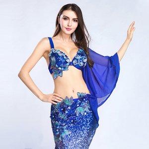 Las mujeres traje de la danza del vientre dancewear danza del vientre ropa oriental de baile Trajes sujetador + falda larga para las mujeres 2 Piezas para