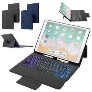 Per iPad 10.2 2019 7 colori retroilluminato senza fili Bluetooth cuoio della tastiera di caso del basamento del antiurto smartphone Flip Coprire con Build-a matita titolare