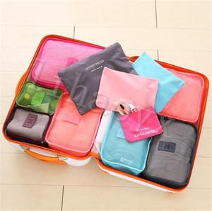 6 unids / set Travel Travel Equipaje Bolsa de almacenamiento de equipaje para ropa interior zapato zapato bolsas de cosméticos Bra New Bag bolsa Organizador Lavandería Bolsa 8Color D132